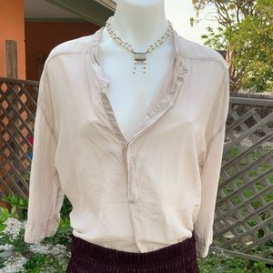 CP Shades Washable silk beige top Small